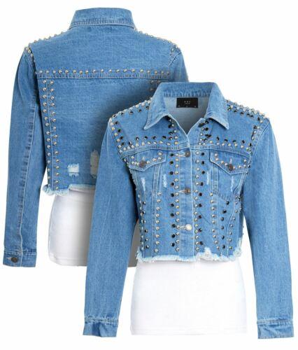 Womens Studded Denim Jacket Size 10 12 14 Ladies Sequins Jean Jackets Denim Blue