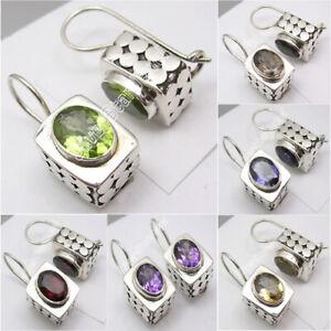 925-Sterling-Silver-PERIDOT-CZ-GARNET-amp-Other-Gemstone-Variation-BOX-Earrings