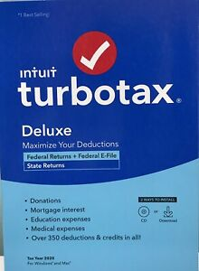 INTUIT TURBOTAX DELUXE 2020 , FEDERAL & STATE RETURN, DISC ...