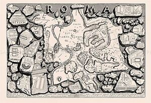 photo about Printable Map of Ancient Rome known as Info in excess of MAP ANTIQUE PIRANESI 1756 Historic ROME Outdated Substantial Duplicate POSTER PRINT PAM1172