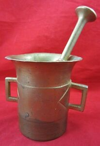 Antique-Large-Solid-BRASS-MORTAR-amp-PESTLE-19th-Century-Medicine-Apothecary-Mix