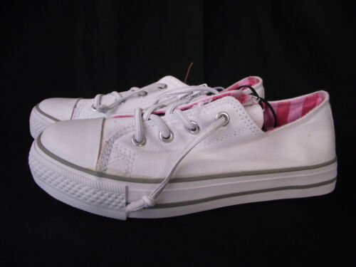 BNWT Little Girls Sz 6 Rivers Doghouse Cute White Lace Up Athletic Jogger Shoes