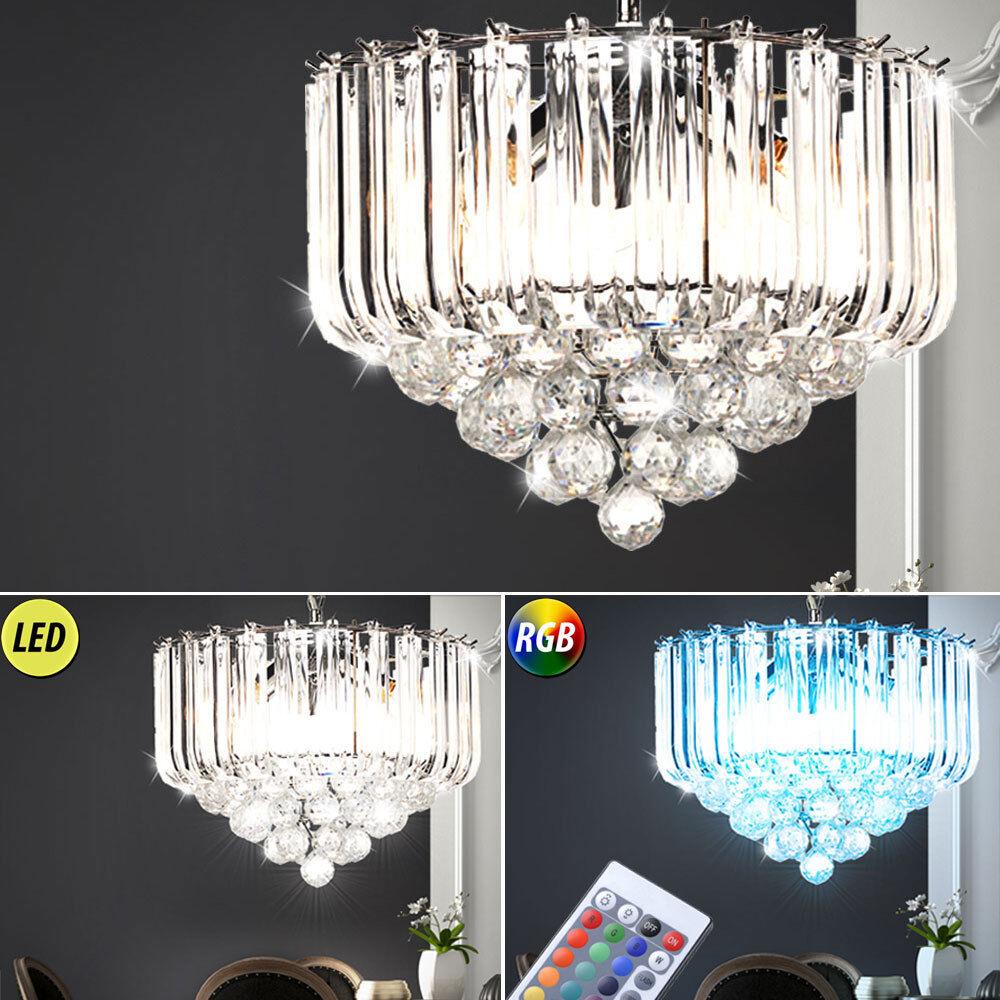 Pendentif cristal LED RGB lustre télévariateur salle à manger suspension plafond