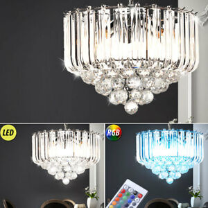 luxus led h ngeleuchte rgb farbwechsel wohnzimmer kristall decken luster dimmbar ebay. Black Bedroom Furniture Sets. Home Design Ideas
