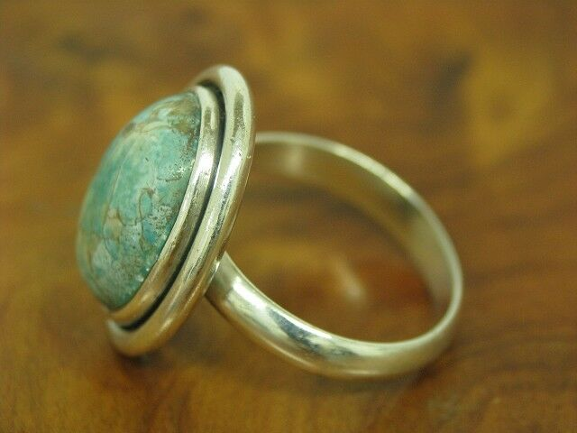 925 Sterling argentoo Anello con guarnizione in Turchese in puro puro puro argentoo RG 55 6 5g 582213