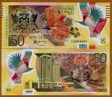 Polymer//Hibiscus//Cardinal p56 UNC Series 2015 Trinidad /& Tobago 50 Dollars