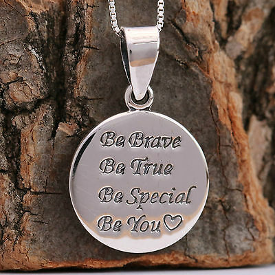 925 Sterling Silver Handcrafted Inspirational Round Pendant Chain Necklace w Box