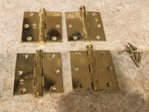 """Door Hinges Hager ~ 1741 ~ 3.5/"""" x 3.5/"""" ~ Polished Brass 4 Pre-Owned"""