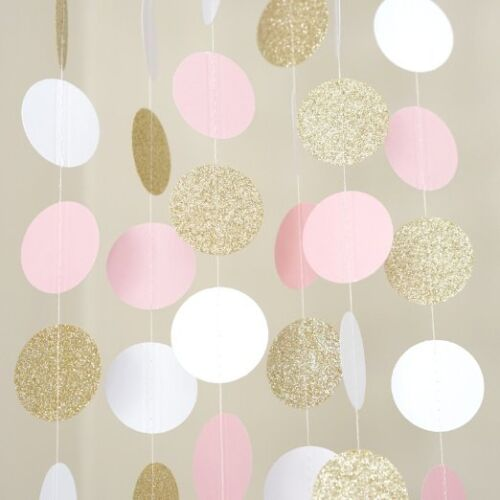 Pink White and Gold Glitter Circle Polka Dots Paper Garland Banner 10 FT Banner