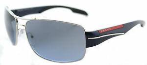 d56aa5fec9652 New Prada Linea Rossa PS 53NS 1BC5I1 Silver Aviator Sunglasses Blue ...