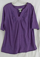 Women's Notched Neck Elbow Length Shirt In Dark Purple 14/16 (m)