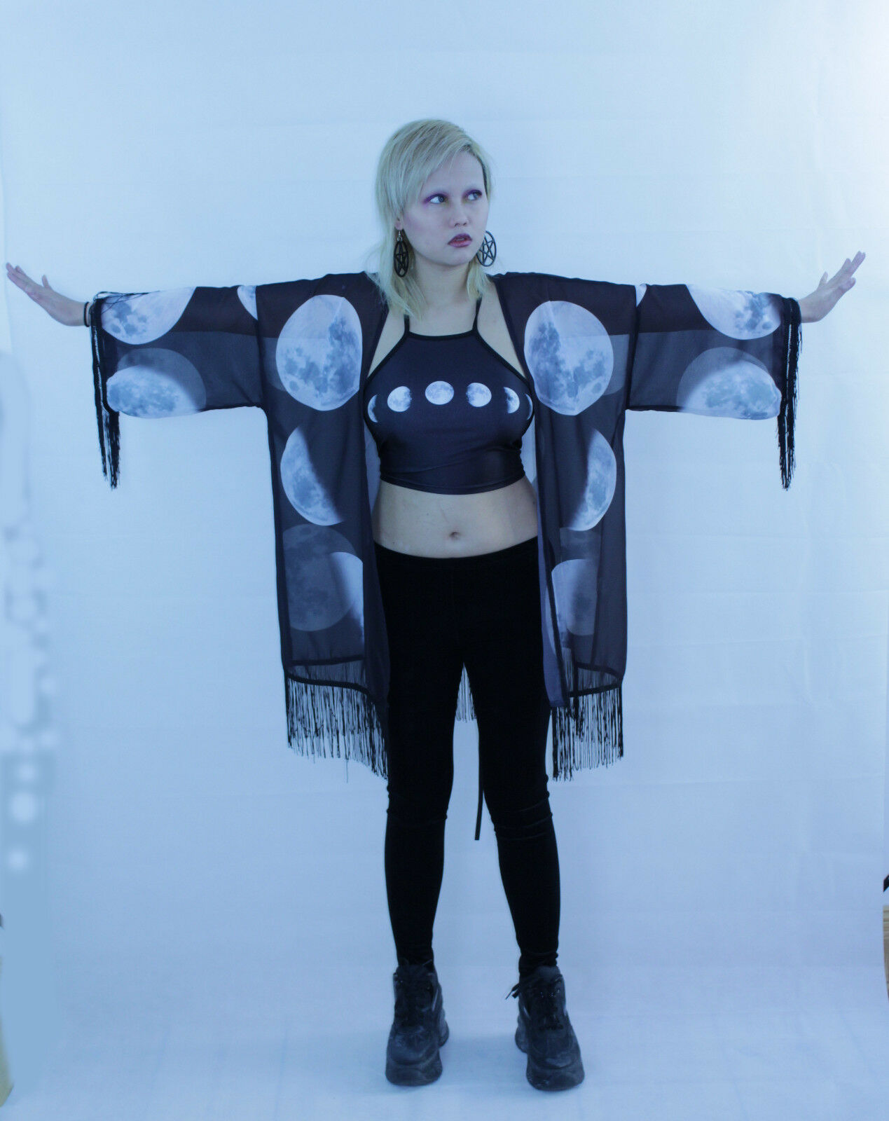 Hexe Gothic Wicca Occult Sommer Pagan Kimono Witch Witchcraft
