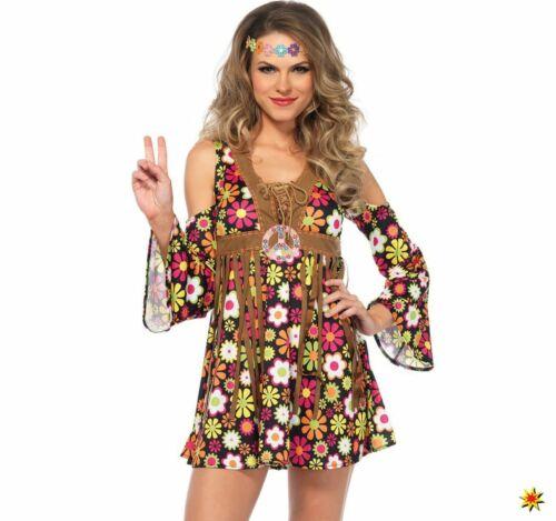 Damen Kostüm Hippie Flower Power Girl Alice Gr S-L Kleid bunt Karneval
