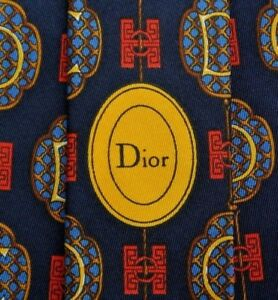 Blue-Red-DIOR-Logos-Allover-Silk-Tie