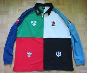6-NATIONS-CUP-RUGBY-UNION-COTTON-TRADERS-LONG-SLEEVE-shirt-jersey-adult-SIZE-XXL