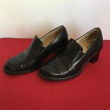 Born Express Womens Comfort Shoes Stacked Heel Black Leather Sz 7