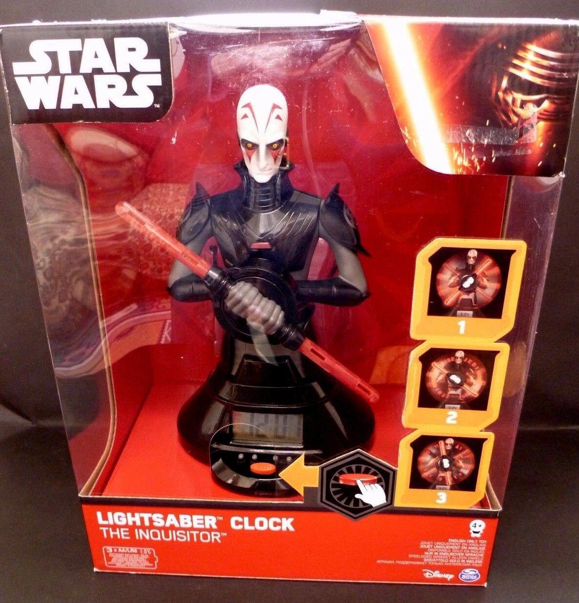 Star Wars Alarm Clock Inquisitor Spin Lightsaber Clock NEW