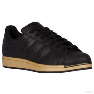 adidas-Originals-SuperStar-Shell-Toe-Black-Gold-Metallic-BB8119-size-8-retro