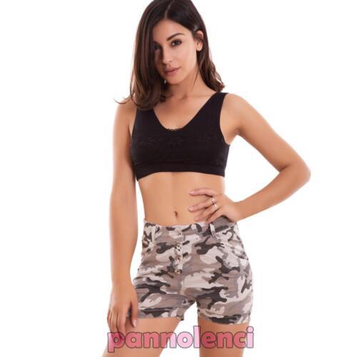 Pantaloncini donna shorts mimetici militar skinny aderenti hotpant nuovi CJ-2240