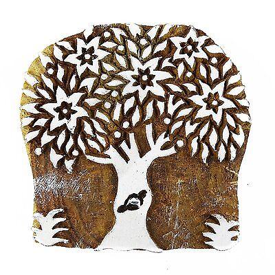 Large Tree Stamp Hand Carved Printing Block Textile blocks printing wood blocks