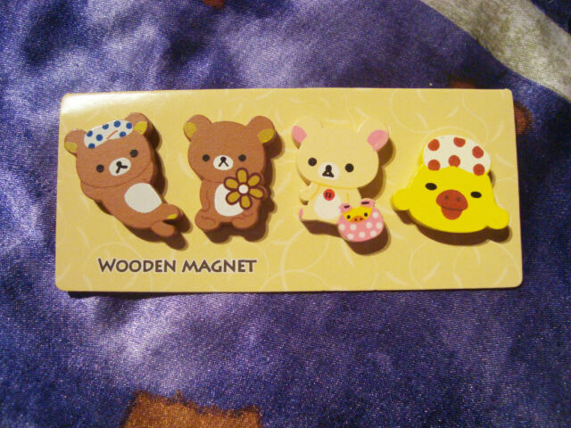 New Rilakkuma fridge magnet wooden San-X kawaii worldwide free shipping