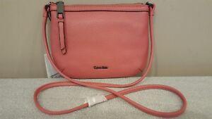 NWT-Calvin-Klein-Carrie-Pebble-Leather-Crossbody-Handbag-Pink-98