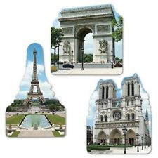 3 French Eiffel Tower Cutouts Paris France Birthday Wedding Party Decorations