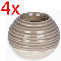 Set Of 4 Ribbed Tea Light Holder Candle Ceramic Decoration Home Round Gift