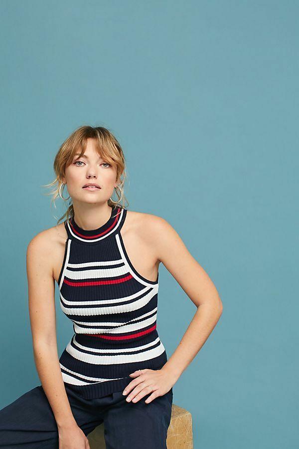 NWT Anthropologie Striped Sweater Tank Top Small Size S