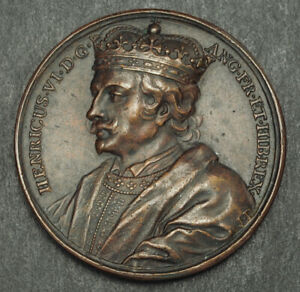 1471-Great-Britain-Henry-VI-Bronze-Suite-Medal-by-J-Dassier-Nice-Old-Cast