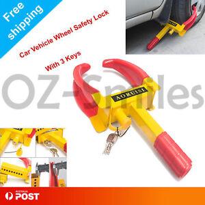 Wheel-Clamp-Lock-Heavy-Duty-Vehicle-Caravan-Car-Security-Anti-theft-2-keys