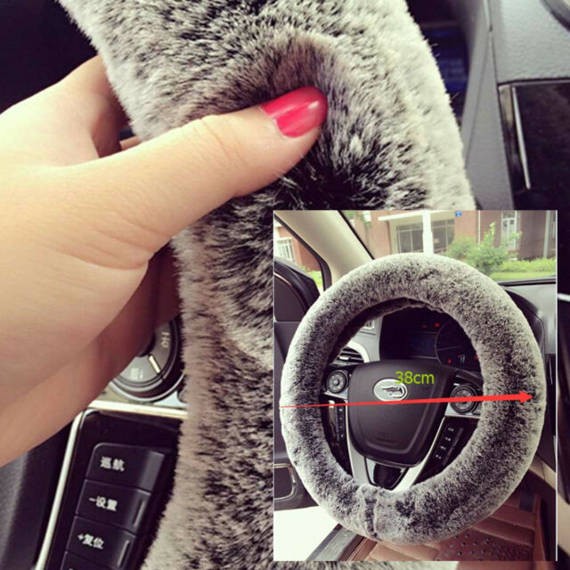 Rabbit Fur Fabric Car Steering Wheel Covers Winter Warm Soft Plush 15 inch 38CM