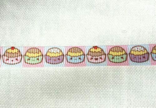 "Pink kawaii cupcakes with faces printed grosgrain ribbon 3//8/"" 9mm width"