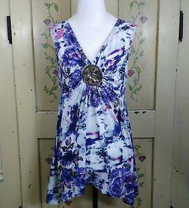 Womens-Size-M-Sleeveless-V-Neck-White-amp-Purple-Floral-Beaded-Boho-Tunic-Top