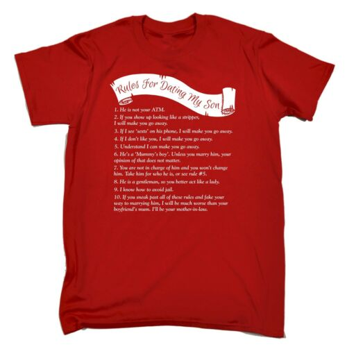 Men/'s Rules For Dating My Son Funny Joke Teen Boy Child Humour Adult T-SHIRT