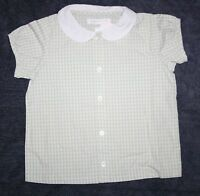 Pottery Barn Kids Green White Check Button Front Top Shirt 18-24m