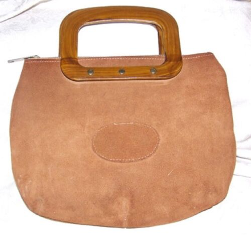 VINTAGE 1960s Orange-y Suede Zip Top Handbag Purse