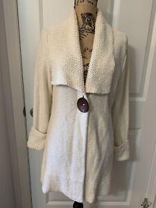 Womens Wish Ivory Sweater Jacket Sz S