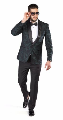 Slim Fit 1 Button Shawl Satin Collar Green  Floral Jacket Tuxedo Black Pants714