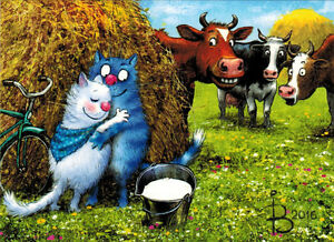 COWS-WATCH-LOVING-CATS-039-COUPLE-Modern-Russian-postcard-by-R-Zenyuk