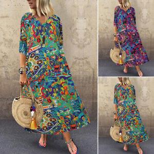 Womens Oversized Summer Bohemian Print Kaftan Casual Loose Baggy Long Maxi Dress