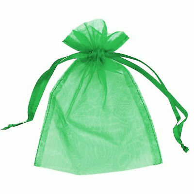 10 SMALL 7CM X 9CM LUXURY GREEN ORGANZA GIFT BAG WEDDING FAVOUR SWEET BAGS UK