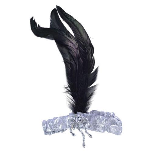 Onorevoli ANNI/'20 E ANNI/'30 ARGENTO #headband Nero in piuma con FANCY DRESS OUTFIT ACCESSORIO