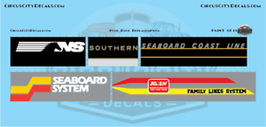 NS Southern Seaboard Coast Line Railroad Hood Door Replacement Decals HO Scale S