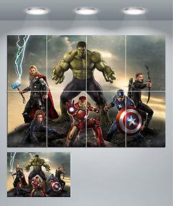 Image is loading Ironman-Hulk-Captain-America-Thor-Marvel-Avengers-Giant- & Ironman Hulk Captain America Thor Marvel Avengers Giant Wall Art ...