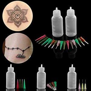 2Pc-Set-Jagua-Henna-Tattoo-Set-Applikator-Flaschen-mit-16-Nadelspitzen-A5P5