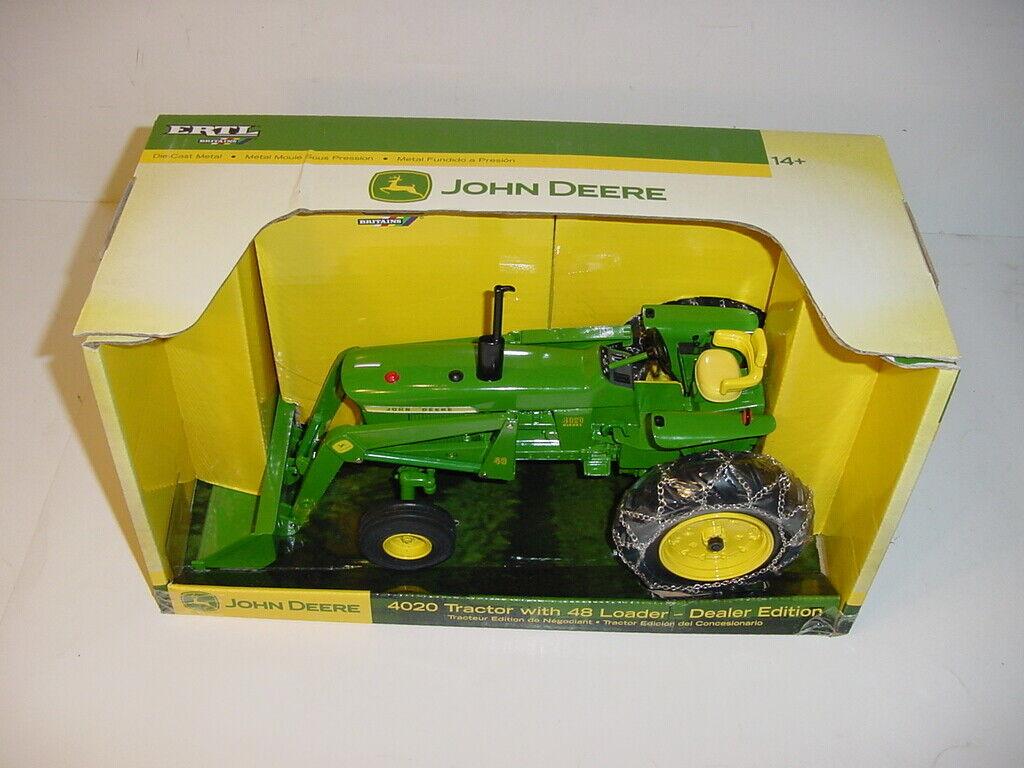 1 16 John Deere 4020 Tractor W 48 Loader & Chains by ERTL NIB  Hard To Find