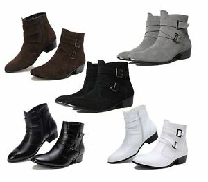 Mens Fashion Pointy Toes Buckles Chunky Low Heel Ankle Boots ...