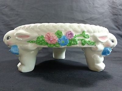 """Easter Egg Plate Footed Bunnies Holds 12 Floral White Ceramic 9"""""""