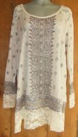 Vocal Bling Tunic Sweater Shirt Vintage 2x 3x 4x Victorian Lace Aztec Tan